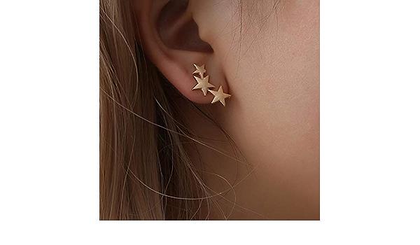 LnLyin Estrella Pendientes Escalada Pendientes Mini Triple Estrellas Pendientes Mujeres Joyas, aleación, Dorado, Talla única