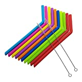 Silicone Straws: Reusable 10 count + 2 Cleaning Brushes BPA Free Food Grade-Silicone Straws Extra Long 10 in. Extra Wide- Prefect for any Tumbler and Drinks including Smoothies Kid Friendly ENJOY