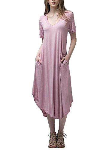 Price comparison product image Andree By Unit Ladies Comfortable Worn Wash Maxi Dress-Mauve-XL