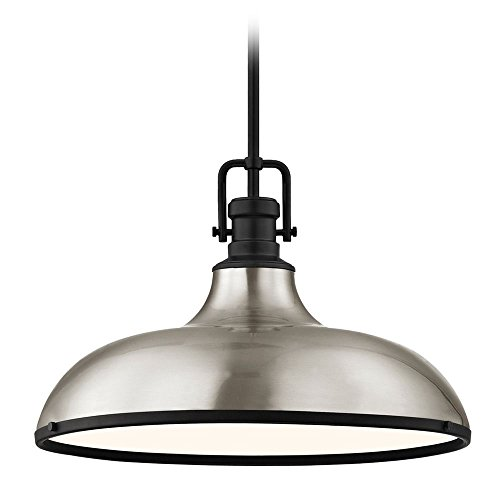 (Industrial Large Pendant Light Satin Nickel with Black Accents 18.38-inch Wide)
