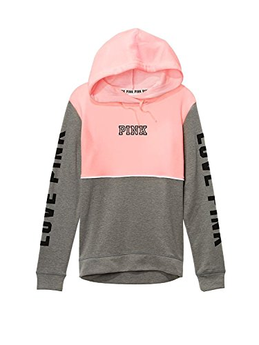 Victoria's Secret PINK Crossneck Pullover Hoodie, Pink/Gray, Small