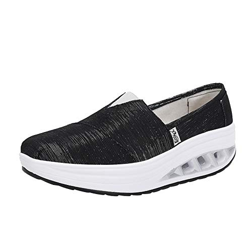 Women Round Head Air Cushion Slip On Leisure Comfortable Breathable Thick Bottom Slip-Ons Shoes Shake Shoes