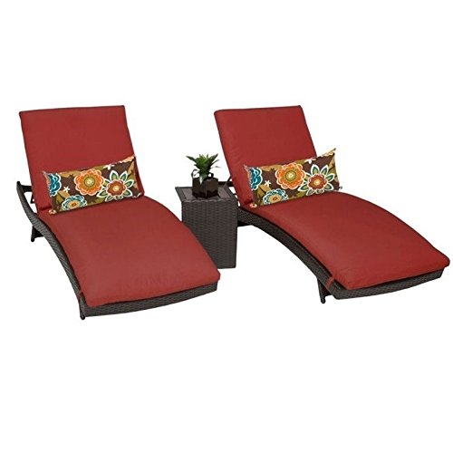TK Classics BALI-2x-ST-TERRACOTTA Bali Chaise Set of 2 Outdoor Wicker Patio Furniture With Side Table with 2 Covers: Wheat and Wicker Bali Chaise