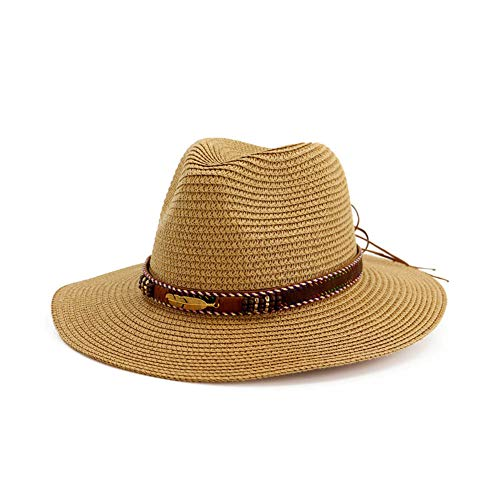 Vim Tree Man and Woman's Wide Brim Straw Panama Hat Fedora Beach Sun Hat with Band UPF50+ Khaki 93