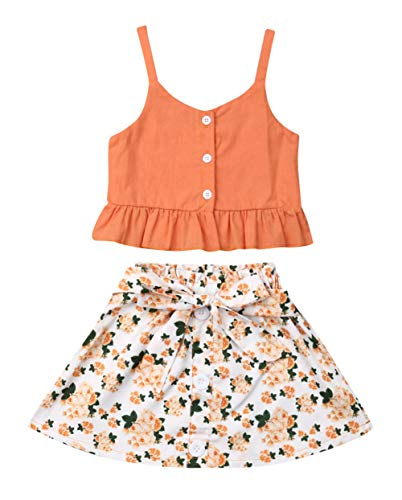 VISGOGO Toddler Baby Girls Outfits Clothes Set Halter Crop Tops + Flamingo Short Pants (2T, C)]()