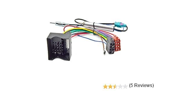 Cable adaptador para radio Audi Seat Skoda VW Quadlock ISO y alimentaci/ón fantasma doble DIN
