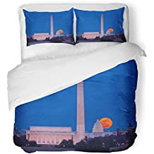 Emvency 3 Piece Duvet Cover Set Breathable Brushed Microfiber Fabric Large Full Moon Rises Through The Haze Over Capitol Building in Washington Dc Bedding with 2 Pillow Covers Full/Queen Size