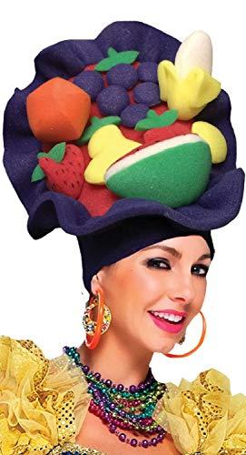 Ladies Mens Carmen Miranda Caribbean Fruit Carnival Pantomime Panto Dame Fancy Dress Costume Outfit Hat