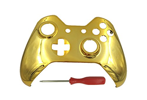 Golden Shell - Chrome Golden Front Housing Shell Cover Skin for Xbox One Games Upper Case Replacement Parts Compatible for Modded Xbox one Wireless Wired Controller
