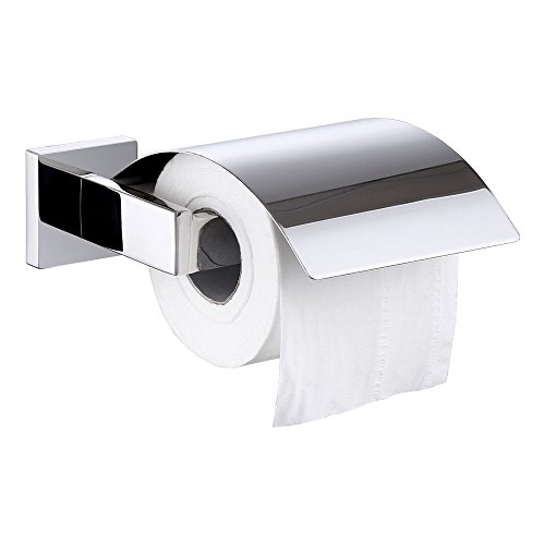 Line Toilet Roll Holder (Toilet Paper Holder with Cover, Angle Simple SUS304 Stainless Steel Paper Roll Hanger Bath Tissue Roll Holder With Metal Flap Keep From Water Splash Wall Mount Polished Chrome)