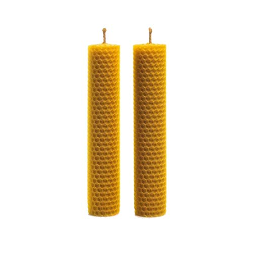 - Set of Two Candles Medium Size Made of Natural Pure Beeswax
