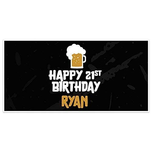 Black Background Beer Happy 21st Birthday Banner Personalized Party Backdrop ()