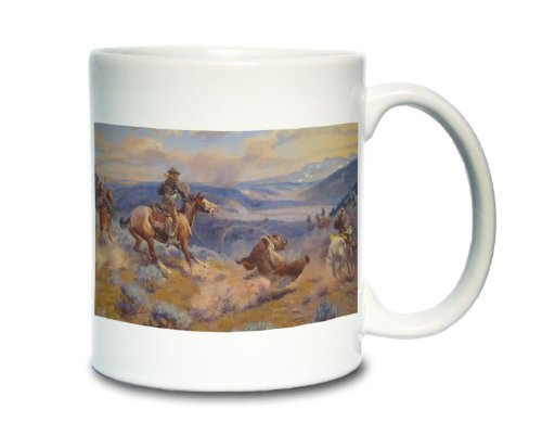 Lead Cowboy (Coffee Mug; Cowboys Lasso A Bear Loops And Swift Horses Are Surer Than Lead (Cowboys In Montana Catch A Bear Harassing The Herd.) Cm Russell)
