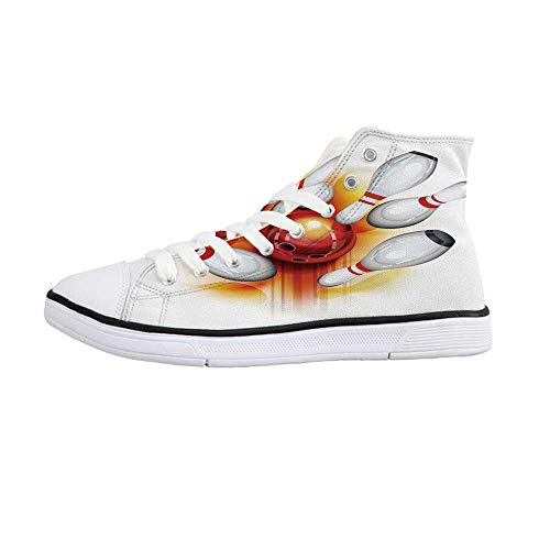Bowling Party Decorations Comfortable High Top Canvas ShoesRed Ball with Spread Skittles Vibrant Abstract Vibrant Art Decorative for Women Girls,US 11]()