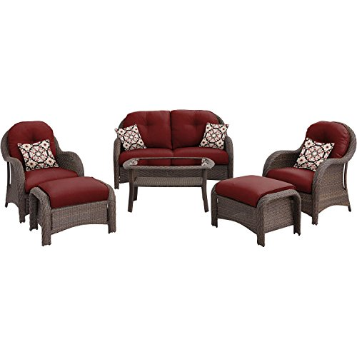 Hanover Outdoor Newport 6-Piece Woven Seating Set, Crimson Red - 6 Piece Seating