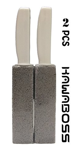 Pumice Cleaning Stone with Handle - Fine Grit, Efficient, Kawaboss Toliet Bowl Ring Remover Cleaner Brush for Cleaing Hard Water Residues BBQ Pool Stain Rust (2 Pcs)