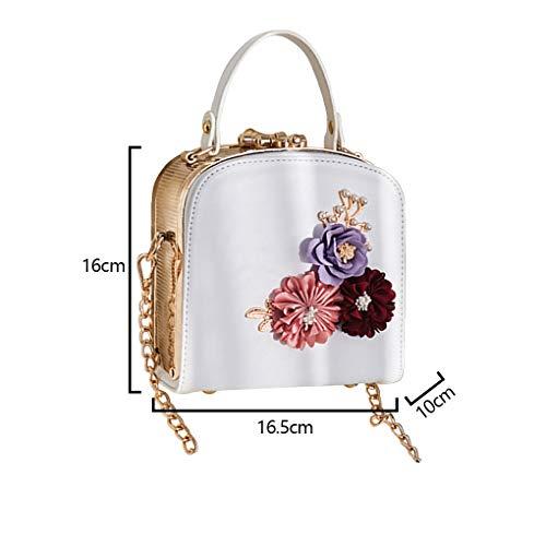 borse Decor Messenger Bags borsa Crossbody Fiore doppia cerniera Ragazze PU Donne Bianca monospalla Republe 0pwBSq7p