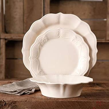 The Pioneer Woman Paige 12-piece Crackle Glaze Dinnerware Set Linen
