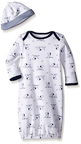 (Little Me Baby Boys' Gown and Hat, White Print Puppy, 0-3 Months)