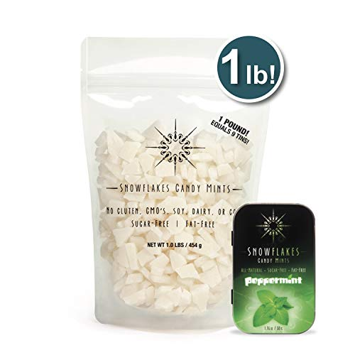 (Peppermint Xylitol Candy Chips - Snowflakes 1LB Bag - Handcrafted with ONLY 2 Ingredients   Diabetic-friendly, Non-GMO, Vegan, GF & Kosher   Purest sugar-free candy in the world!)