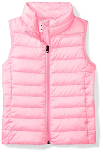 Amazon Essentials Big Girls' Lightweight Water-Resistant Packable Puffer Vest, Neon Flamingo Pink, Medium