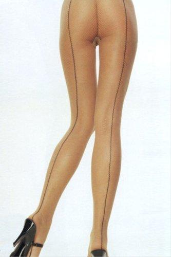 Back Seam Lycra Fishnet - Leg Avenue Lycra Fishnet Panty Hose W/ Black Back Seam 9079 (NUDE/BLACK,One Size)