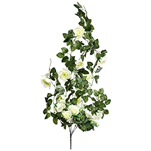 Get Orange 100cm Artificial Rose Silk Flower Green Leaf Vine Garland Home Wall Party Decor Wedding Garden Decoration 39