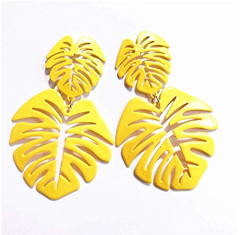 YAYAYOUYOU Hollow Leaf-Shaped Earrings Retro Personality Hollow Creative Coconut Leaf Pendant Earrings Cut Leaf Earrings Female Jewelry Gift