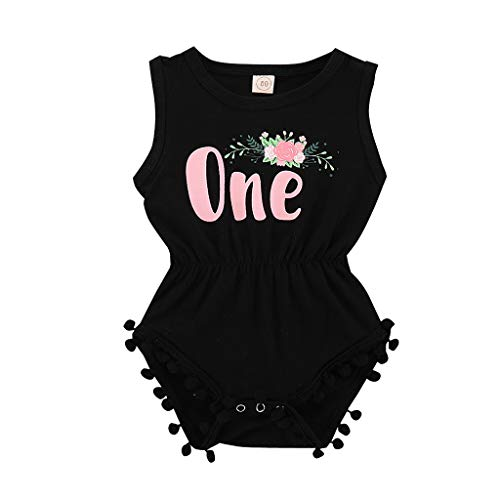 pollyhb Baby Romper, Infant Baby Girl Letter Floral Printed Tassel Romper Outfits for Princess Party Black ()