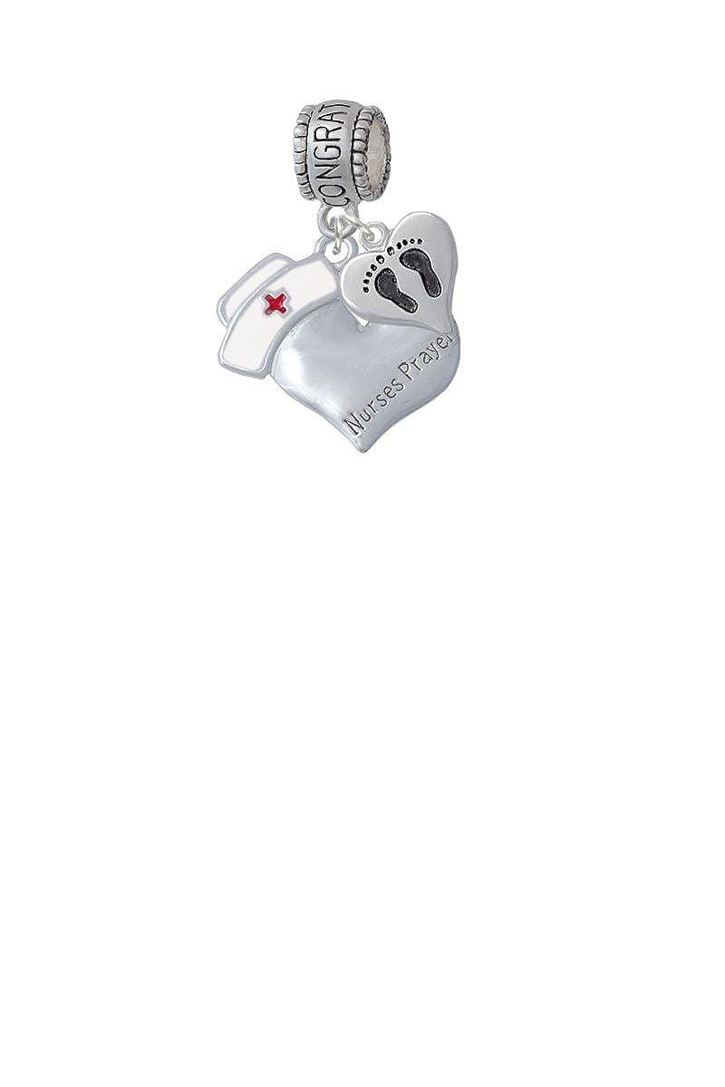 Delight Jewelry Nurses Prayer Heart Congratulations Charm Hanger with Mini Baby Feet Heart