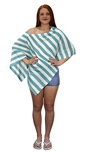 - Peach Couture Womens Summer Fashion Light Weight Striped Poncho Shrug Cover Up Teal