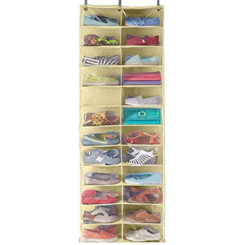 Over Door Shoe organizer 13 double pockets for 26 shoes, beige 21 inches in width 63 in height, with plastic front to see your shoes
