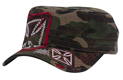 TOP HEADWEAR Womens Print Adjustable Cadet Cap - Camo - Iron Cross