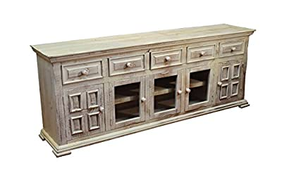 Crafters & Weavers Rustic Solid Wood 83 Inch Whitewashed TV Stand Media Console Sideboard Cabinet