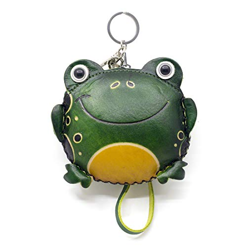 MOREFUN Owl Leather Mini Coin Purse Zipper Bag Keychain Animal Wallet Strap Pouch (Frog)
