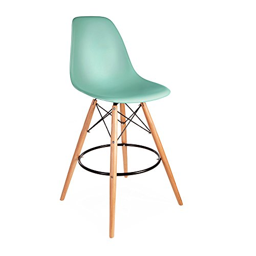 Mid Century Modern Eames DSW Style Light Aqua Counter Stool with Dowel Wood Base HIGH QUALITY Pearl Finish (Miller Light Bar Stool)