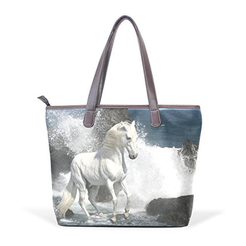 COOSUN Blanca del caballo en las grandes olas de mano PU mango de cuero Bolsa de hombro bolsa de asas M (40x29x9) cm Multicolor # 002