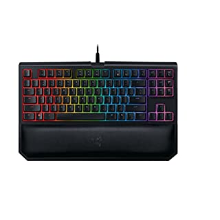 Razer BlackWidow TE Chroma v2 TKL Tenkeyless Mechanical Gaming Keyboard: Green Key Switches, Tactile & Clicky, Chroma RGB Lighting, Magnetic Wrist Rest, Programmable Macros, Classic Black