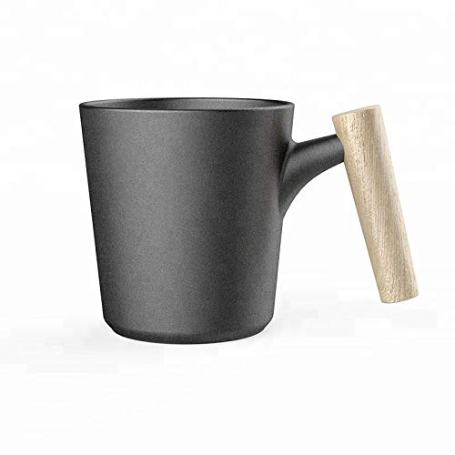 Ceramic Porcelain Coffee Mug with Bamboo Wooden Handle