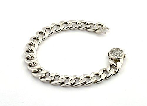 Bracelet à chaîne avec fermeture zirconata hypoallergénique en argent 925sterling plaqué en Or Blanc Longueur 18,5Poids 7.90Gr