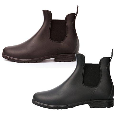 Agua Negro1 Lluvia de Casual Chelsea Xinwcang Mujer Botas Zapatos de Botas Boot Tobillo Impermeable q4ORBpY
