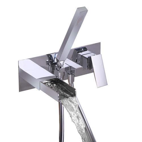 - JiaYouJia Waterfall Wall Mount Tub Filler Tub Faucet with Hand shower Chrome Finish