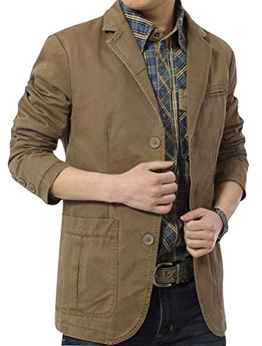 Mordenmiss Men's Cotton Sport Coat Single Breasted Military Blazer Lapel Collar Trench Jacket XL ()