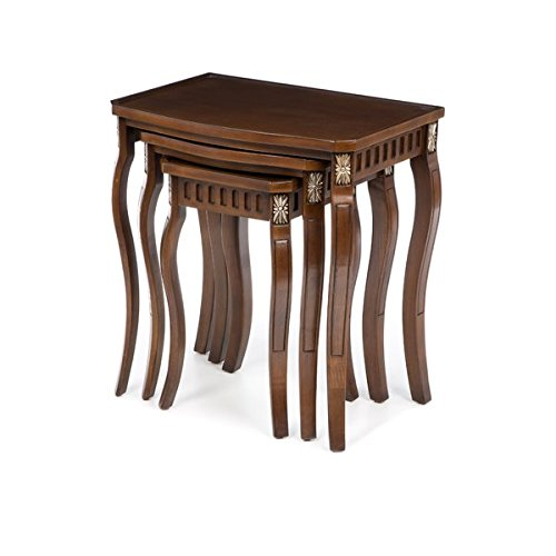 3 Piece Nesting Tables Curved Leg Design Gold Painted Accents and Carving Set Includes One Small One Medium and One Large Nesting Table by AVA Furniture