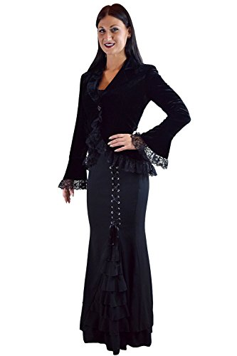 Plus Womens Gothic Victorian Steampunk Black Velvet Corset and Lace Jacket (18)