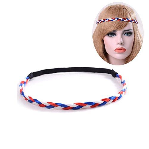 - Auch Braid hair band, USA Color Headband Headpieces Headwrap - Red Blue White