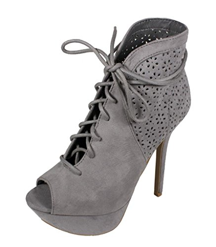 Lustacious Women's Peep Toe Lace Up Perforated Platform High Heel Ankle Booties