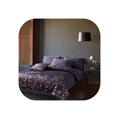 Egyptian Cotton Embroidery Bedding Set Luxury Noble Palace Bed Set King Queen Size Duvet Cover Bedsheet Set,Color8,King 4Pcs