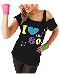 Ladies I Love The 80s Pop Star Fancy Retro T-shirt Womens Fancy Dress Top Tees