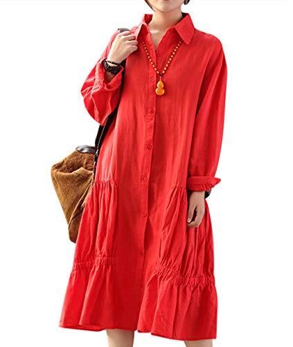 YESNO Women Casual Loose Long Button Down Shirt Dress Flounce Skirt Long Sleeve LD4